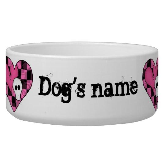 Cute punk hot pink and black hearts and skulls bowl