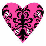 Cute punk hot pink heart with skulls photo cut out