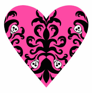 Cute punk hot pink heart with skulls statuette