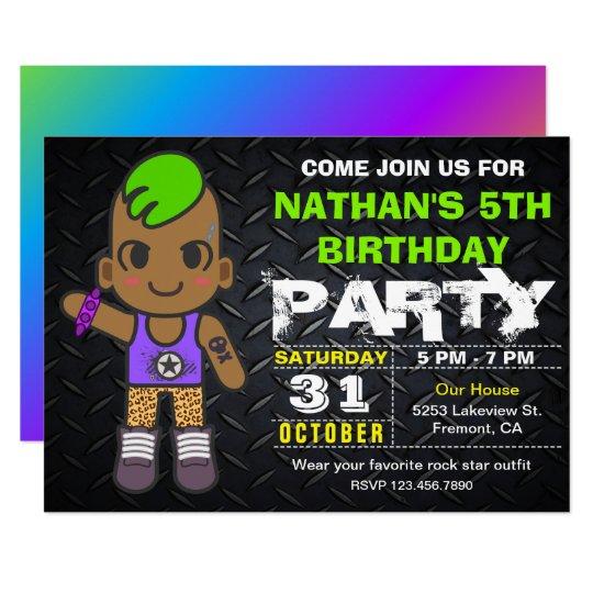 Cute Punk Neon Rock Star Birthday Party Invitation