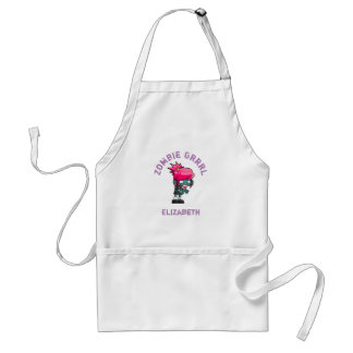 Cute Punk Rock Zombie Grrrl Personalized Adult Apron