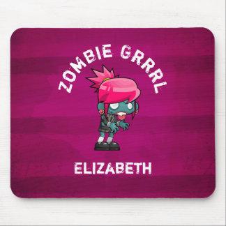 Cute Punk Rock Zombie Grrrl Personalized Mouse Pad