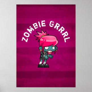 Cute Punk Rock Zombie Grrrl Poster
