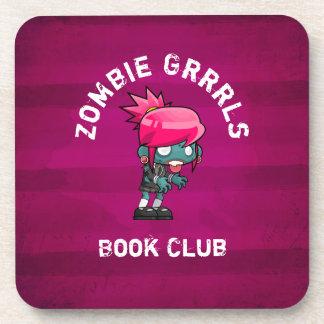 Cute Punk Rock Zombie Grrrls Book Club Coaster
