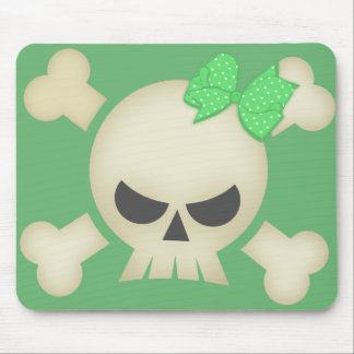 Cute Punk Skull and Bow (green)  Mousepad