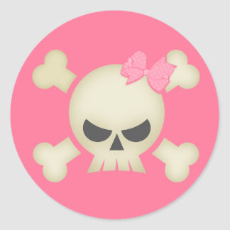 Cute Punk Skull and Bow (pink) Sticker