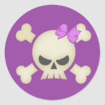 Cute Punk Skull and Bow (purple) Sticker