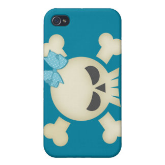 Cute Punk Skull & Bow (teal) iPhone4 Case