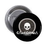 Cute Punk Skull California Button Dark