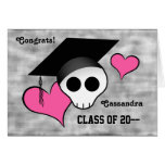 Cute punk skull graduation with hearts cards