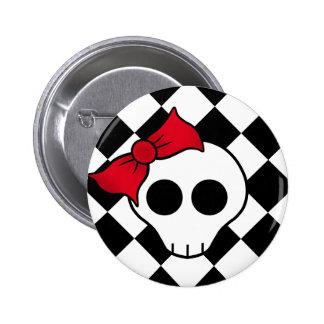 Cute punk skull pinback button