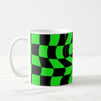Cute punk wavy squares neon green and black coffee mug