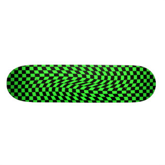 Cute punk wavy squares neon green and black skateboard deck