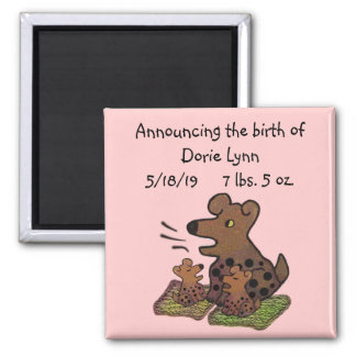 Cute Puppies Birth Announcement 2 Inch Square Magnet