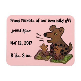 Cute Puppies Birth Announcement Magnet