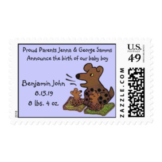 Cute Puppies New Baby Announcement Postage