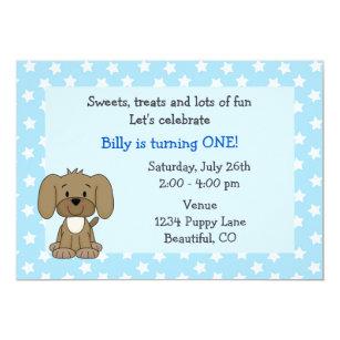 Puppy birthday invitations announcements zazzle cute puppy 1st birthday invitation for boys filmwisefo