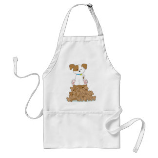 Cute Puppy and Bones Adult Apron
