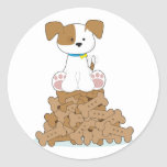 Cute Puppy and Bones Classic Round Sticker
