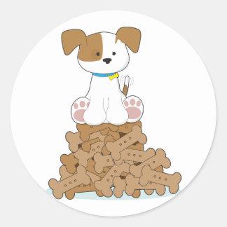 Cute Puppy and Bones Classic Round Sticker