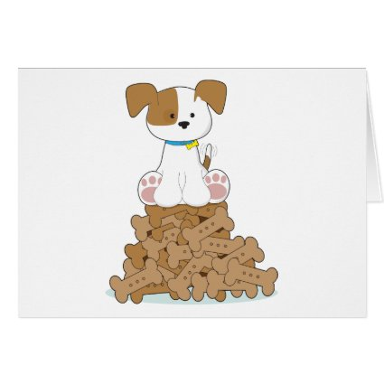 Cute Puppy and Bones Greeting Card