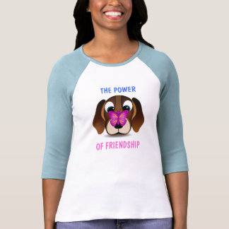 Cute Puppy and Butterfly Friendship Womens T-Shirt