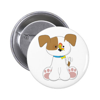 Cute Puppy and Butterfly Pinback Button