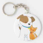 Cute Puppy and Cat Basic Round Button Keychain