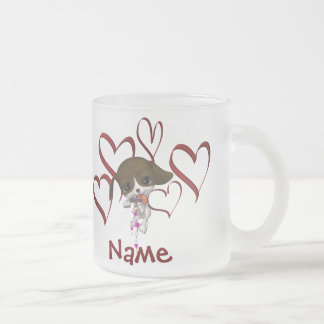 Cute Puppy And Hearts Frosted Name Mug