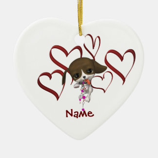 Cute Puppy And Hearts Name Ornament
