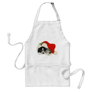 Cute Puppy And Kitten Sleep In A Santa Hat Adult Apron