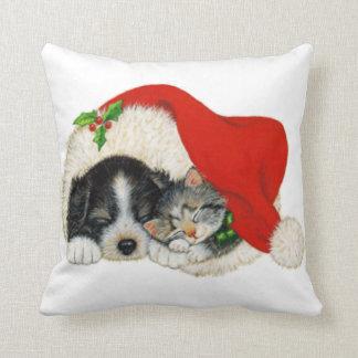 Cute Puppy And Kitten Sleep In A Santa Hat Throw Pillow