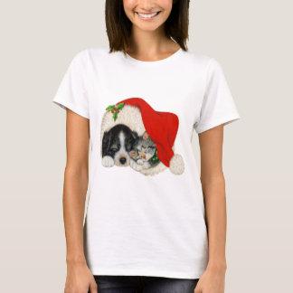 Cute Puppy and Kitten Sleeping in Santa Hat T-Shirt