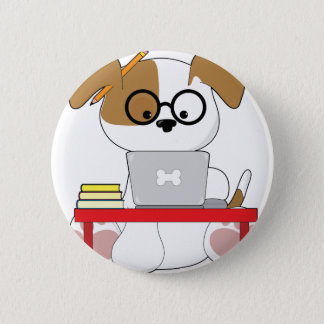 Cute Puppy and Laptop Button