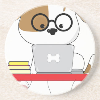 Cute Puppy and Laptop Coaster