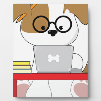 Cute Puppy and Laptop Plaque