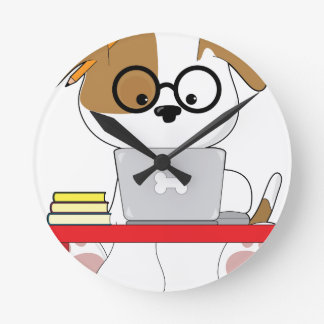 Cute Puppy and Laptop Round Clock