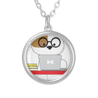 Cute Puppy and Laptop Silver Plated Necklace