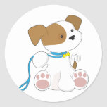 Cute Puppy and Leash Round Stickers