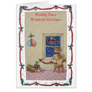 cute puppy and Santa picture art greeting card Greeting Cards
