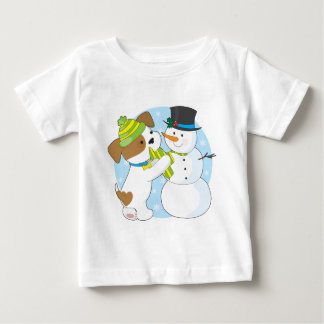 Cute Puppy and Snowman Baby T-Shirt