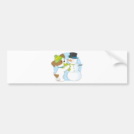 Cute Puppy and Snowman Bumper Sticker
