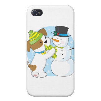 Cute Puppy and Snowman iPhone 4/4S Case