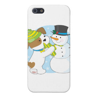 Cute Puppy and Snowman iPhone 5 Cases