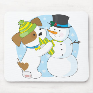Cute Puppy and Snowman Mouse Pad