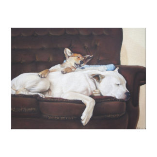 Cute puppy and white bull dog realist art canvas gallery wrapped canvas