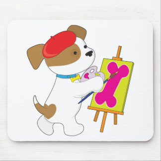 Cute Puppy Artist Mouse Pad