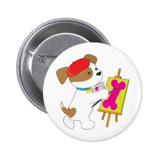 Cute Puppy Artist Pinback Buttons