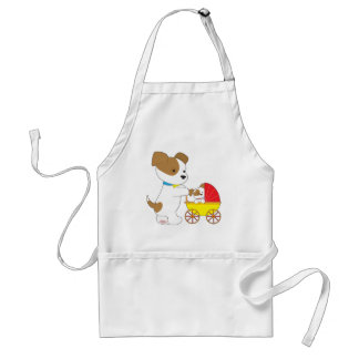 Cute Puppy Baby Carriage Adult Apron
