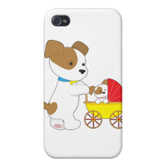 Cute Puppy Baby Carriage Cases For iPhone 4